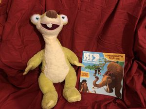 "Build a Bear Sid the Sloth large 19"" yellow plush plushie doll & Ice Age 2 Mammoth book - lot sale! for Sale in Phoenix, AZ"