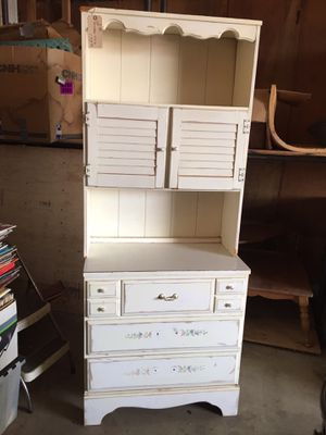 Tall desk-chest-book shelf-cabinet-combo for Sale in Scappoose, OR