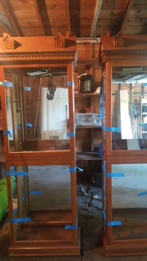2 wood glass shelves with light built in for Sale in Gurnee, IL