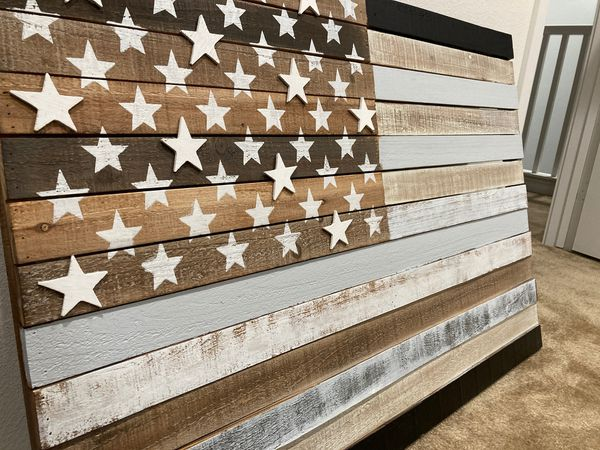 Wood slab American flag