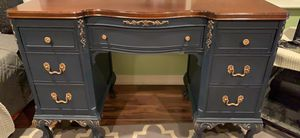 Refinished antique claw foot desk and chair navy blue for Sale in Gambrills, MD