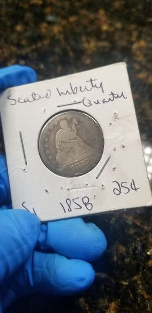 1858 silver seated liberty quarter for Sale in Chicago, IL