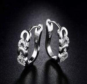 New style white Sapphire Hoop Earrings with velvet gift bag for Sale in Aldie, VA