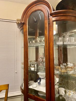 Wood curio with glass shelves! for Sale in Nashville, TN