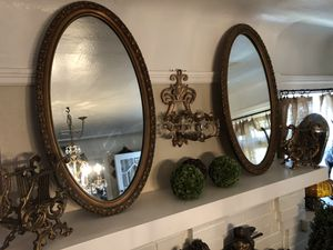 34x18 vintage pair of oval mirrors $60 pair firm! for Sale in Stockton, CA