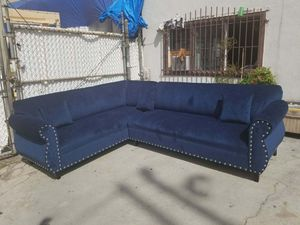 NEW 7X9FT BARCELONA NAVY BABRIC SECTIONAL COUCHES for Sale in Las Vegas, NV