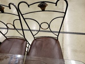 Wrought iron table & 4 leather chair for Sale in Bessemer, AL