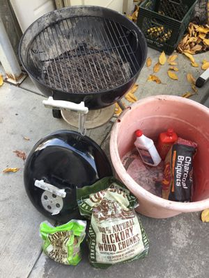 Weber Grill and charcoal and wood chips for Sale in Milpitas, CA