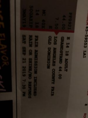 """Los Angeles County Fair Concert Tickets """"Old Dominion"""" for Sale in Brea, CA"""