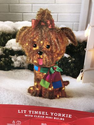 CHRISTMAS 🎄 LIT TINSEL YORKIE DECOR 2 FEET TALL 🎄 for Sale in Long Beach, CA