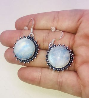 Natural Blue Fiery Rainbow 🌈 Moonstones large round stones & .925 stamped sterling silver starburst embellished dangle hook earrings NEW! for Sale in Carrollton, TX