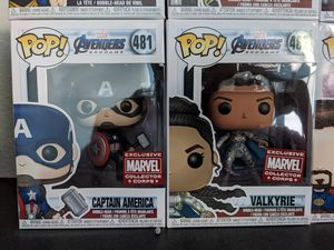 Captain America and Valkyrie Marvel Collector Corps Funko Pops (Really rare and limited marvel funko pops) for Sale in Rancho Cucamonga, CA