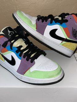 Nike Air Jordan 1 Retro Mid SE Women Size 8 Light Bulb Multi Sneakers for Sale in Phoenix,  AZ