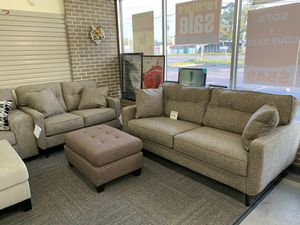 ❤️Only $50 Down Payment with Financing Approval! All Brand New Never Used Ashley Dahra Sofa and Loveseat in Ink Blue Fabric with Beautiful Nailhead U for Sale in Norfolk, VA
