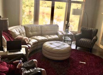 Leather Sofa With Ottoman Table for Sale in Tempe,  AZ