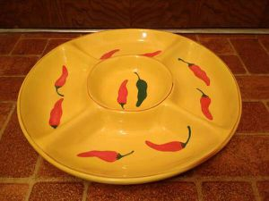 "15"" Yellow 5 Section Chili Peppers Ceramic Tray for Sale in Oklahoma City, OK"