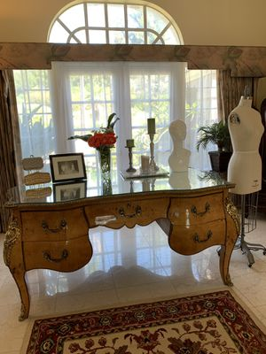 Beautiful antique glass & solid wood desk for Sale in Industry, CA