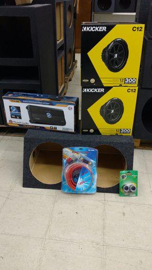 Kicker complete car audio bundle with 2500 watt amplifier for Sale in Houston, TX
