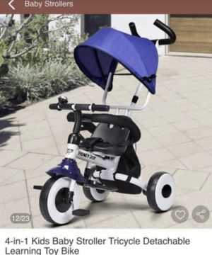 4 in 1 Kids Baby Stroller Tricycle Detachable Learning Toy Bike for Sale in Fontana, CA