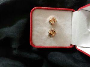 Junxin junnix elegant 18 K golden Princess cut champagne Topaz diamond CZ Stud earrings square ear Stud wedding jewelry for women for Sale in Moreno Valley, CA