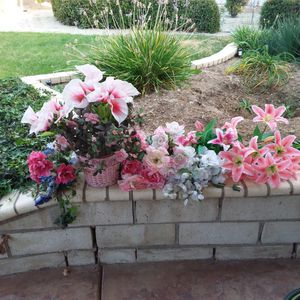 Artificial/ Fake Flowers and Foliage Pink, White, Green for Sale in Menifee, CA