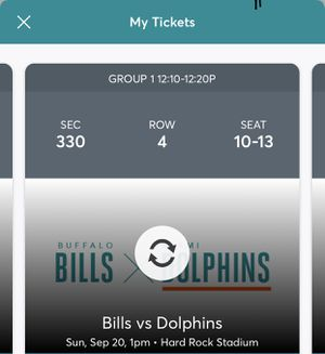 Miami Dolphins vs Buffalo Bills 9-20-20 4 seats for Sale in Fort Lauderdale, FL