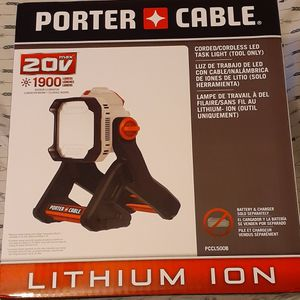 PORTER CABLE CORDED OR 20V BATTERY LED WORK LIGHT 1900 LUMENS for Sale in Smithfield, RI