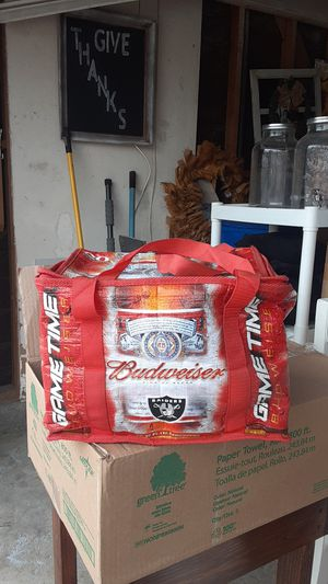 For all you dedicated Raiders fans I have a Budweiser insulated ice chest that can hold up to 20 12 oz long necks. for Sale in Rialto, CA