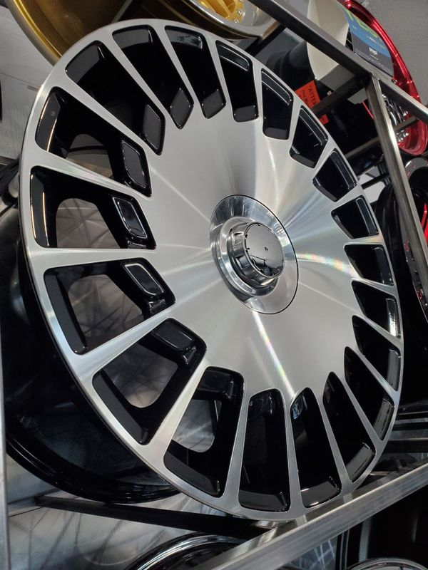 Maybach mercedes style fan wheels black with machine face 20x8.5 and 20x9.5 fits a class S550 cls and e class wheel tire rim shop
