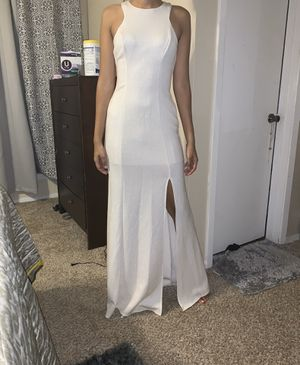 glittery white prom dress with slit for Sale in Houston, TX