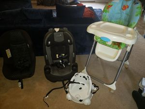 Two carseats, high chair and booster for Sale in Lithonia, GA