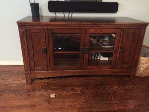 """Mission style solid wood TV stand 50"""" across by 28"""" tall x 18.5"""" deep for Sale in Kent, WA"""