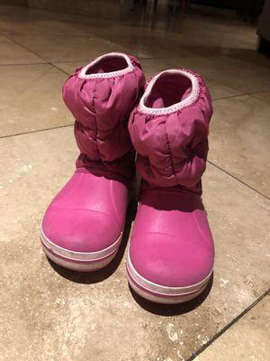 Crocs slip on snow rain boots, pink, size 9 for Sale in Atlanta, GA