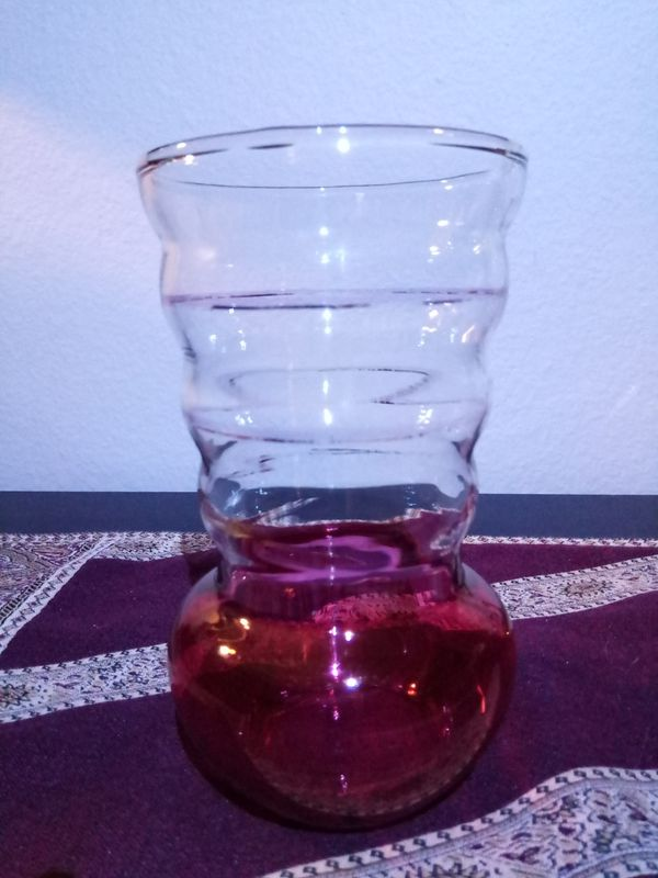 Hand Blown Cranberry Flash Glass Vase