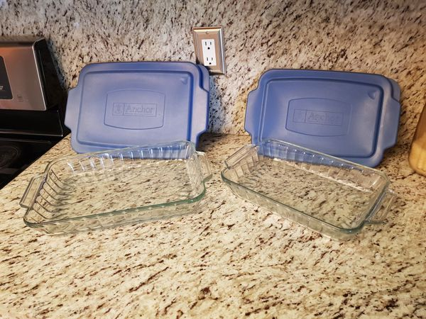 Pyrex glass containers , casserole dishes