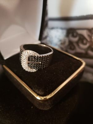 Vintage black sapphire white topaz set in solid silver..sz 10 for Sale in Meriden, CT