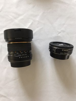 Canon EFS 24mm and Rokinon Fisheye 8mm for Sale in Bloomington, CA