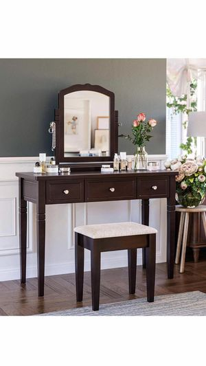 Vanity Set with 3 Big Drawers, Dressing Table with 1 Stool, Makeup Desk with Large Rotating Mirror, Makeup and Cosmetic Storage, Multifunctional, for Sale in Corona, CA