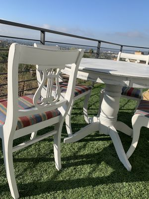 Dinning set freshly painted distress sturdy table and 6 chairs for Sale in Phoenix, AZ