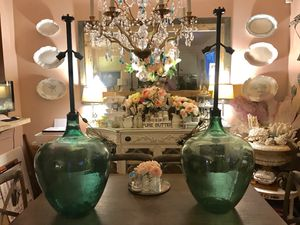 Antique Green Glass Demijohns Carboy LAMPS HUGE European for Sale in Lynnwood, WA