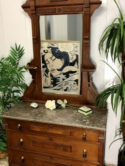 Antique Marble Top Eastlake Wood Carved Dresser with Mirror (Delivery Service Available) for Sale in Boynton Beach,  FL