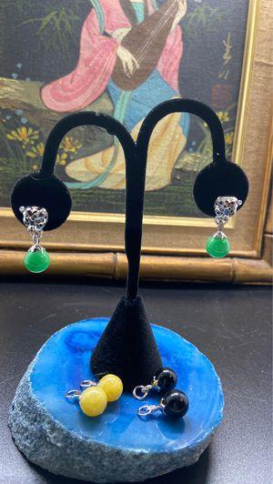 STERLING SILVER BURMESE MULTI COLOR JADE INTERCHANGEABLE CHARMS EARRINGS for Sale in Oakland, CA