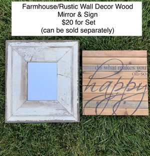 Farmhouse Wood Mirror & Wall Sign (set or sold separately) for Sale in York, PA