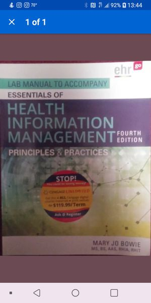Lab Manual To Accompany Essentials of Health Information Management 4th Edition for Sale in Bolingbrook, IL