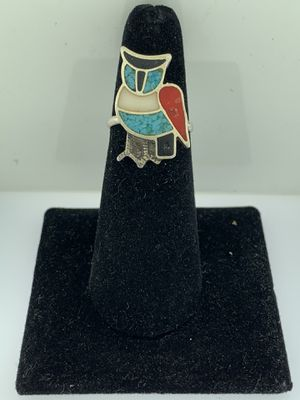 ZUNI STERLING MULTI STONE INLAY HANDMADE Vintage OWL RING size 6.0 Estate for Sale in Miami, FL