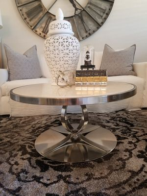 Custom Made Stainless Steel & Marble Coffee Table for Sale in Scottsdale, AZ