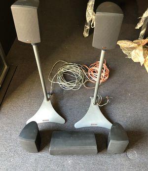 Klipsch Quintet Surround Sound Speaker Set (5) with 2 Adjustable Stands for Sale in Santa Clara, CA