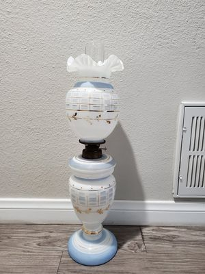 Antique Oil Lamp (Milk Glass,Painted by Gold) The approximate age is 70 years. for Sale in Santa Ana, CA