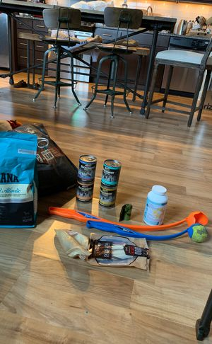 Assorted dog foods, treats, ball launchers, bags for Sale in Washington, DC