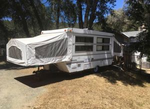 Pop up camper with stove, toilet, shower, fridge, sink, radio, phone charging port - THE WORKS for Sale in Mather, CA